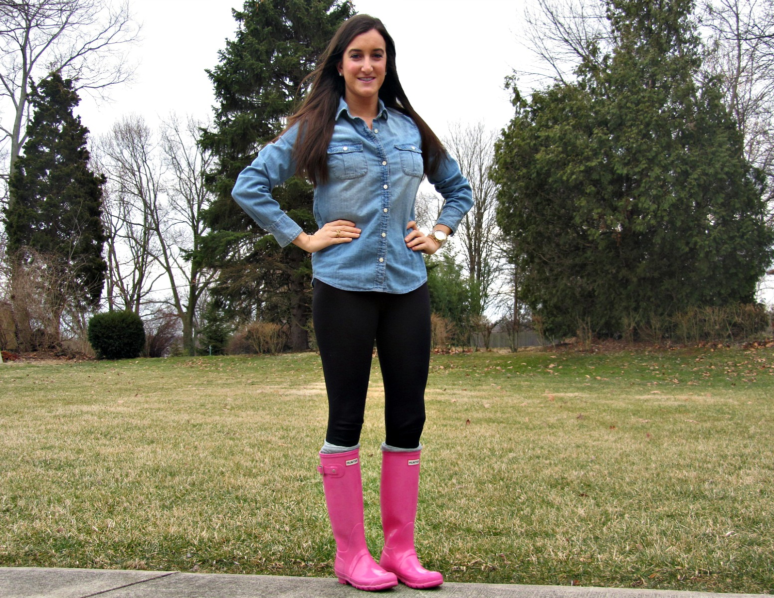 Pink Hunter boots, J.Crew chambray
