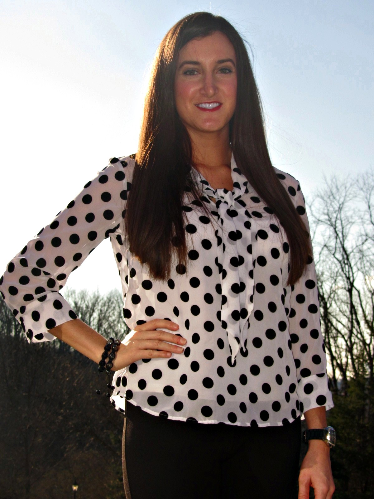 Kensie Polka Dot Shirt Blouse