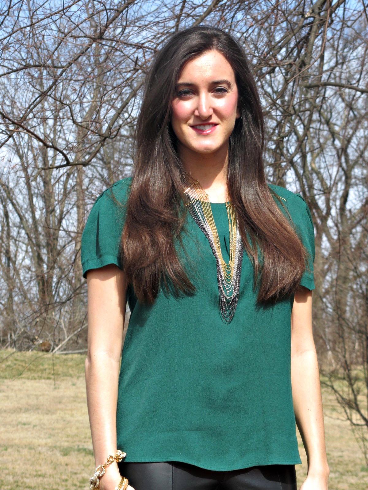 Green Zara Top, BCBG necklace