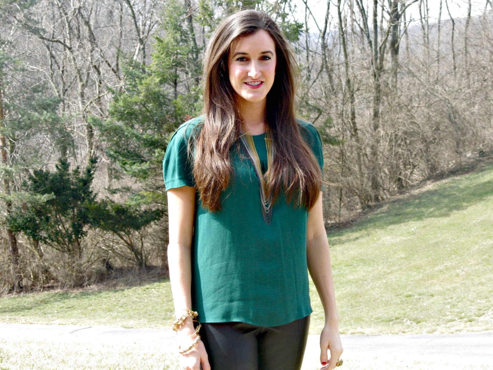 Green Zara Blouse Top, BCBG necklace