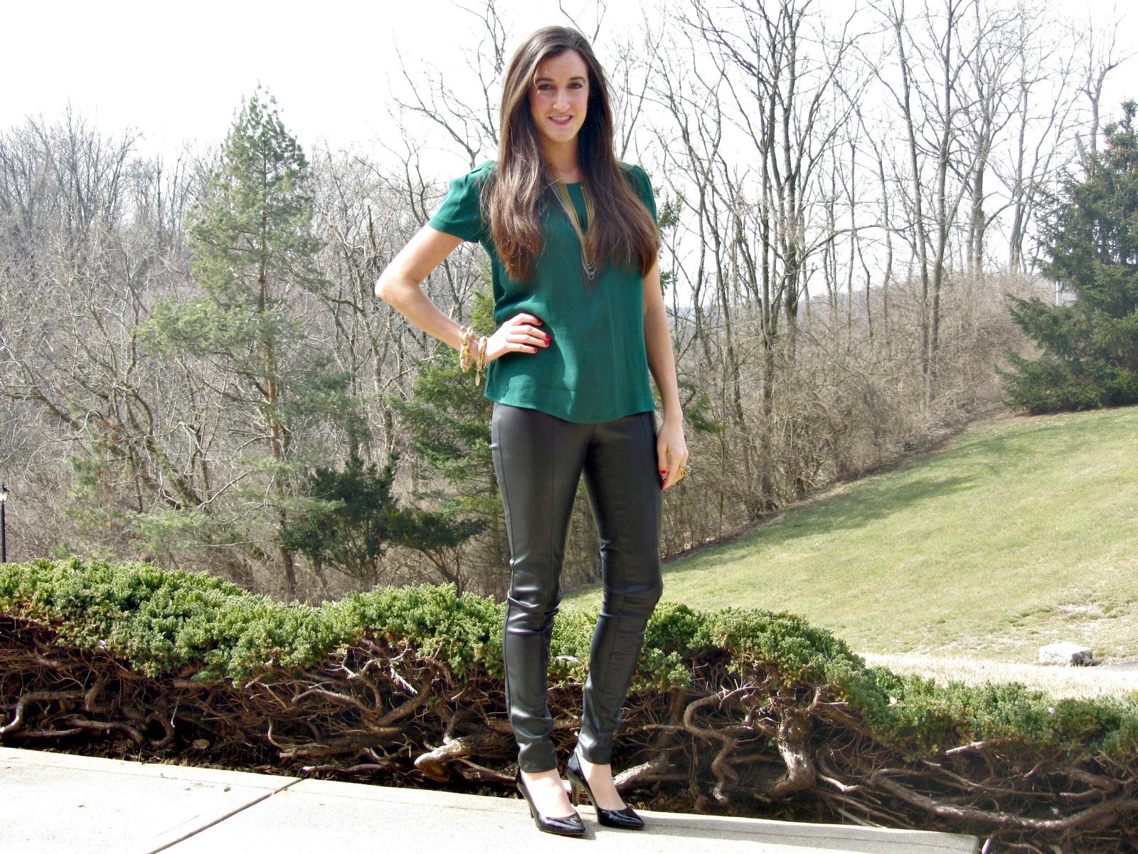 H&M leather pants, Zara green top