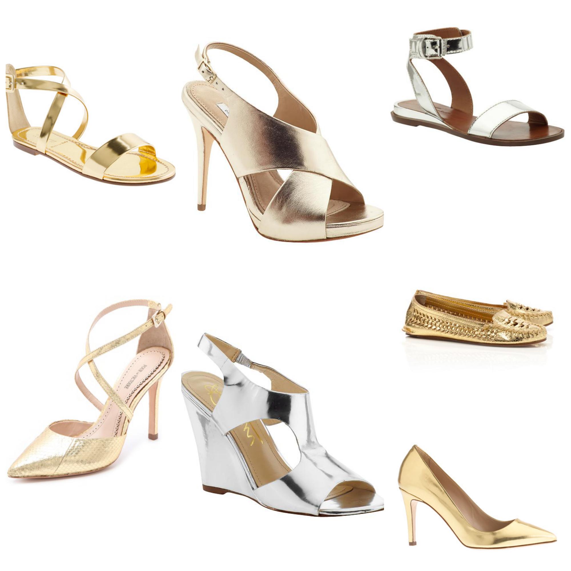 Mirrored Metallic Sandals Wedges