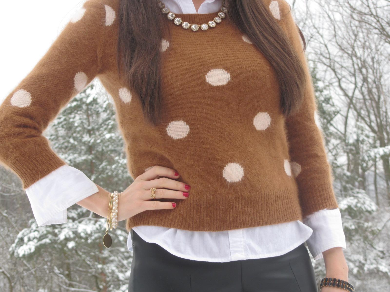 Madewell brown polka dot sweater