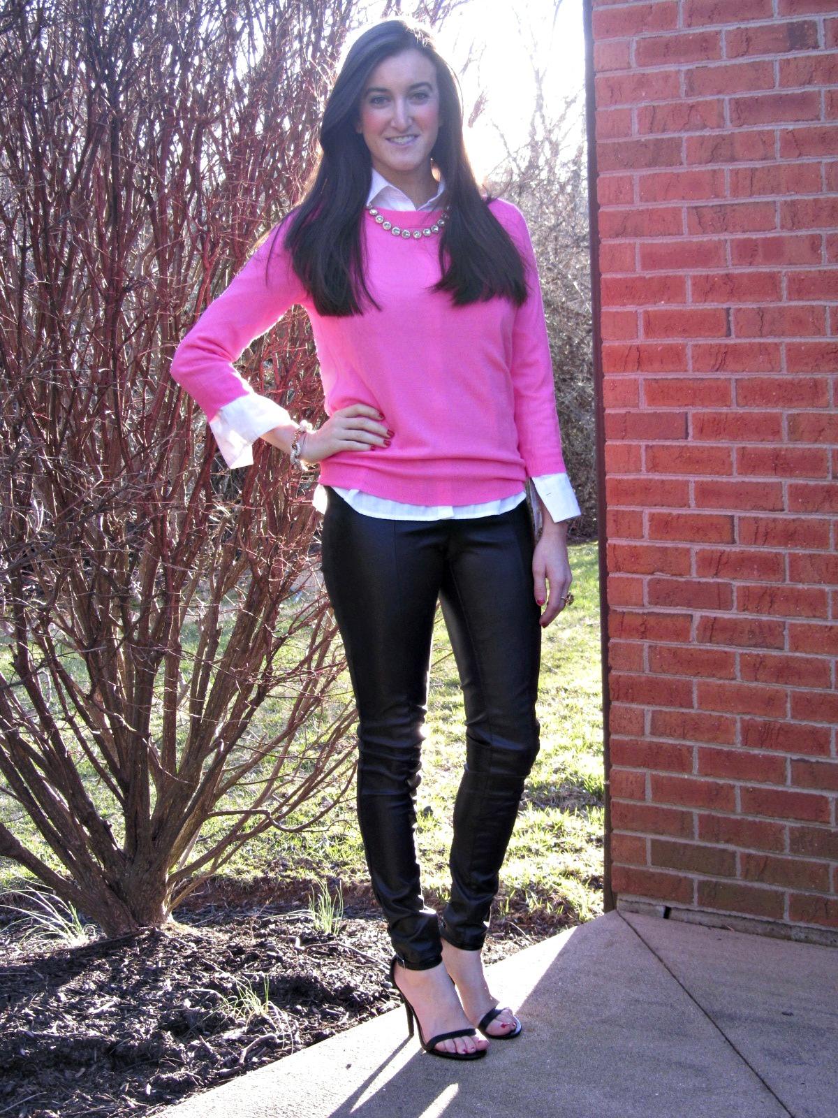 H&M leather pants, J.Crew pink sweater