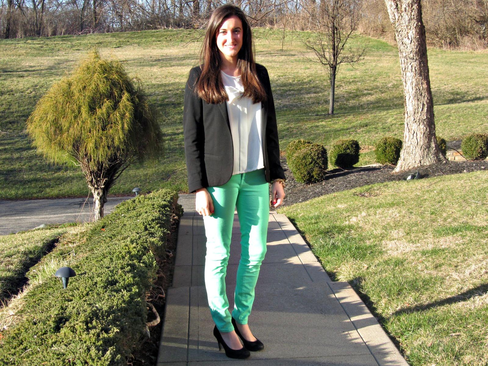 Urban Outfitters Blazer, Mint Pants, Louis Vuitton Purse