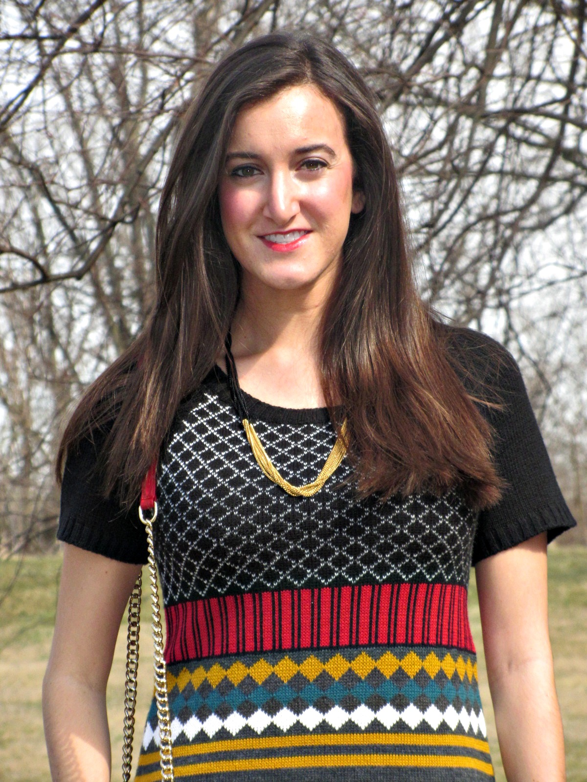 Red Yellow Black Green Colorful Knit Dress