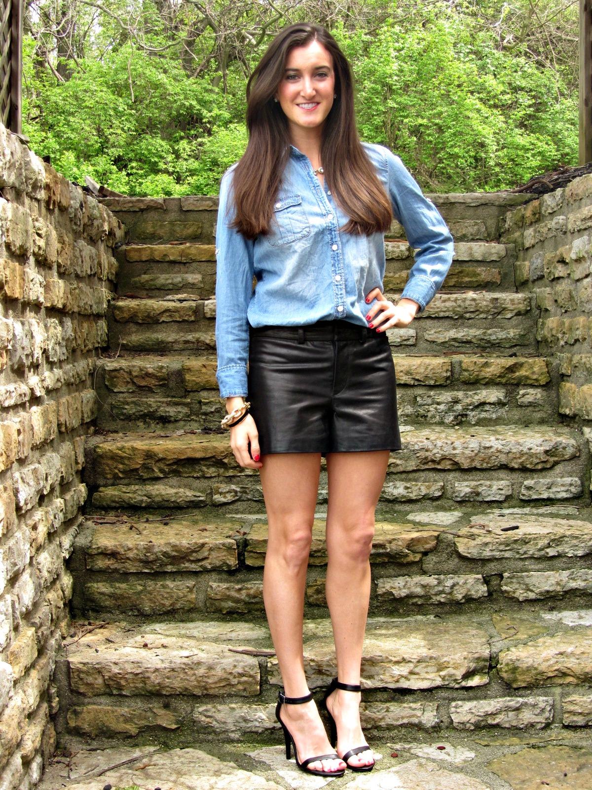 J.Crew chambray shirt, Gianni Bini leather shorts