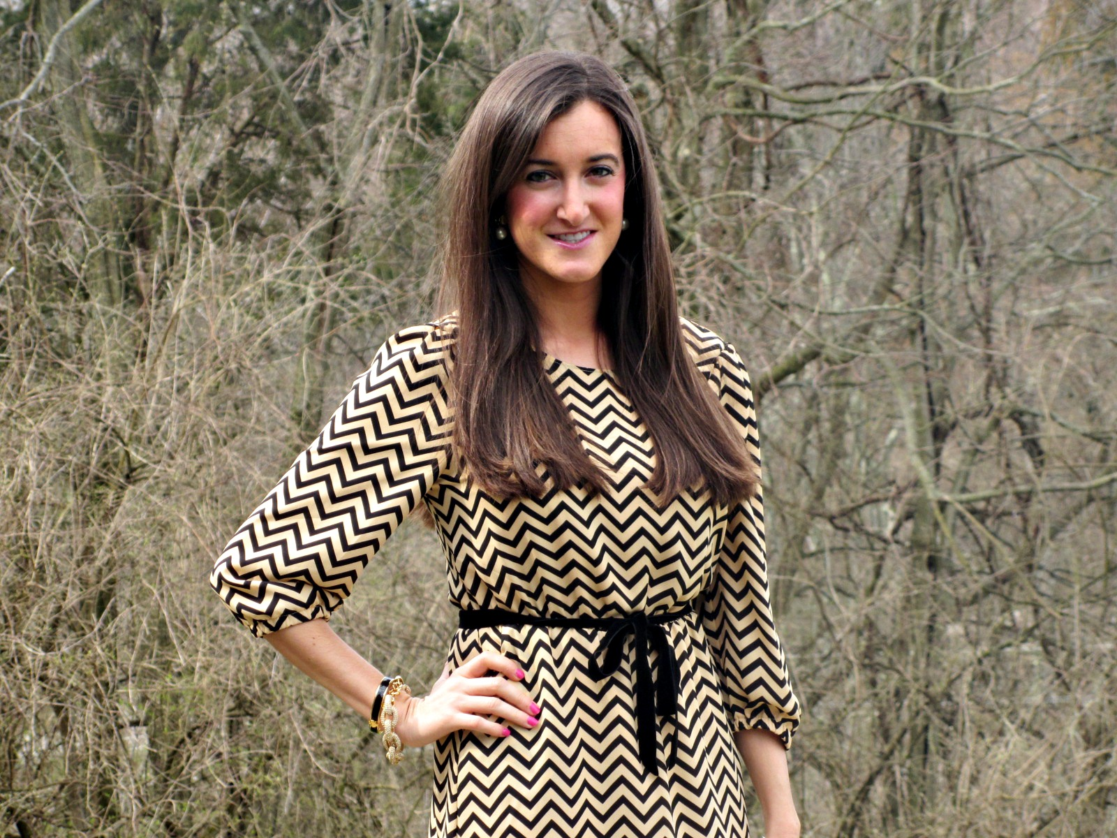 Sugar Lips Black and Cream Chevron Dress