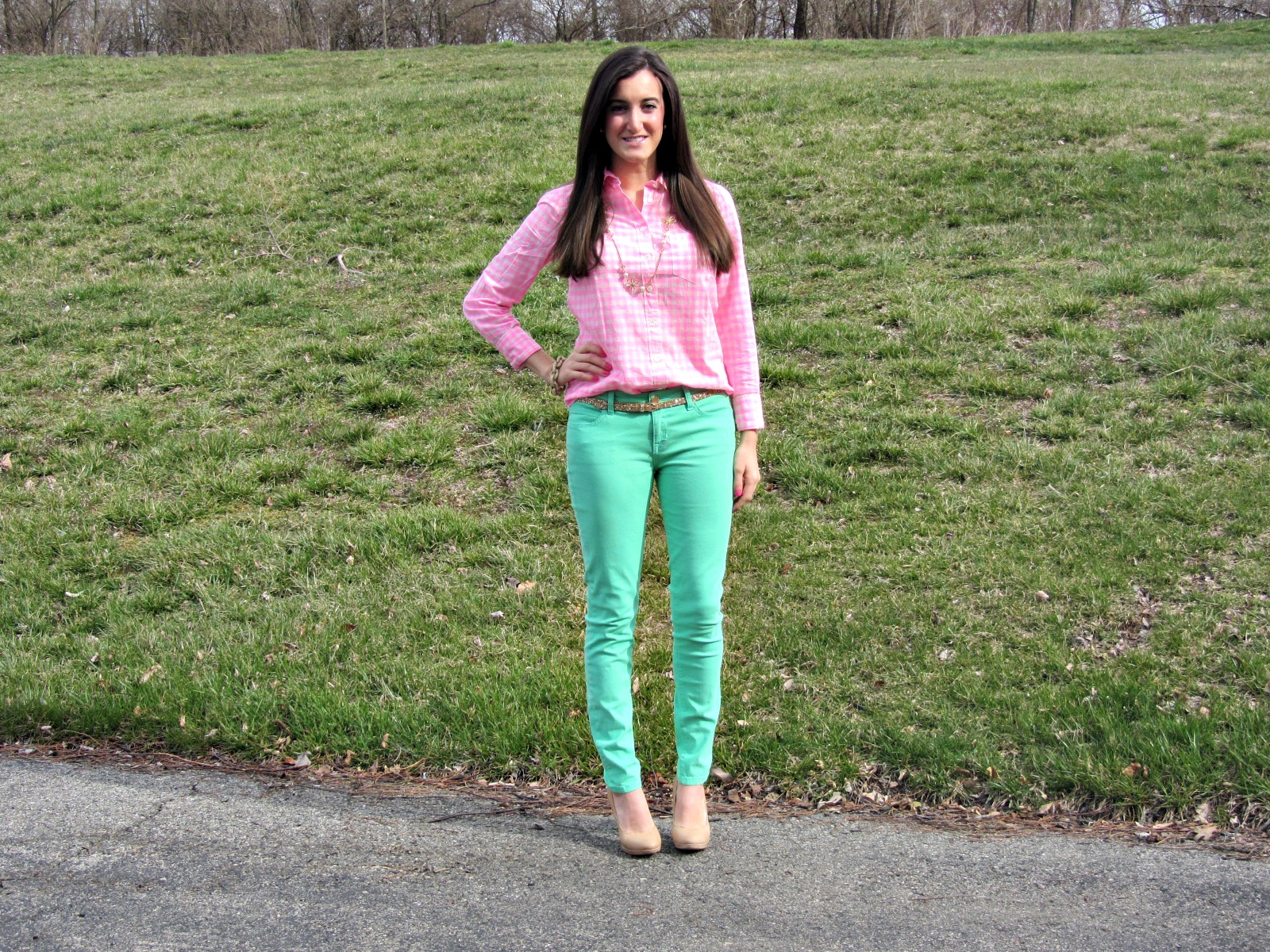 J.Crew Pink Gingham Shirt, Forever 21 Mint Pants