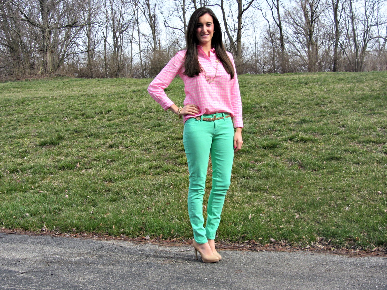 Forever 21 Mint Jeans, J.Crew Neon Pink Gingham Shirt