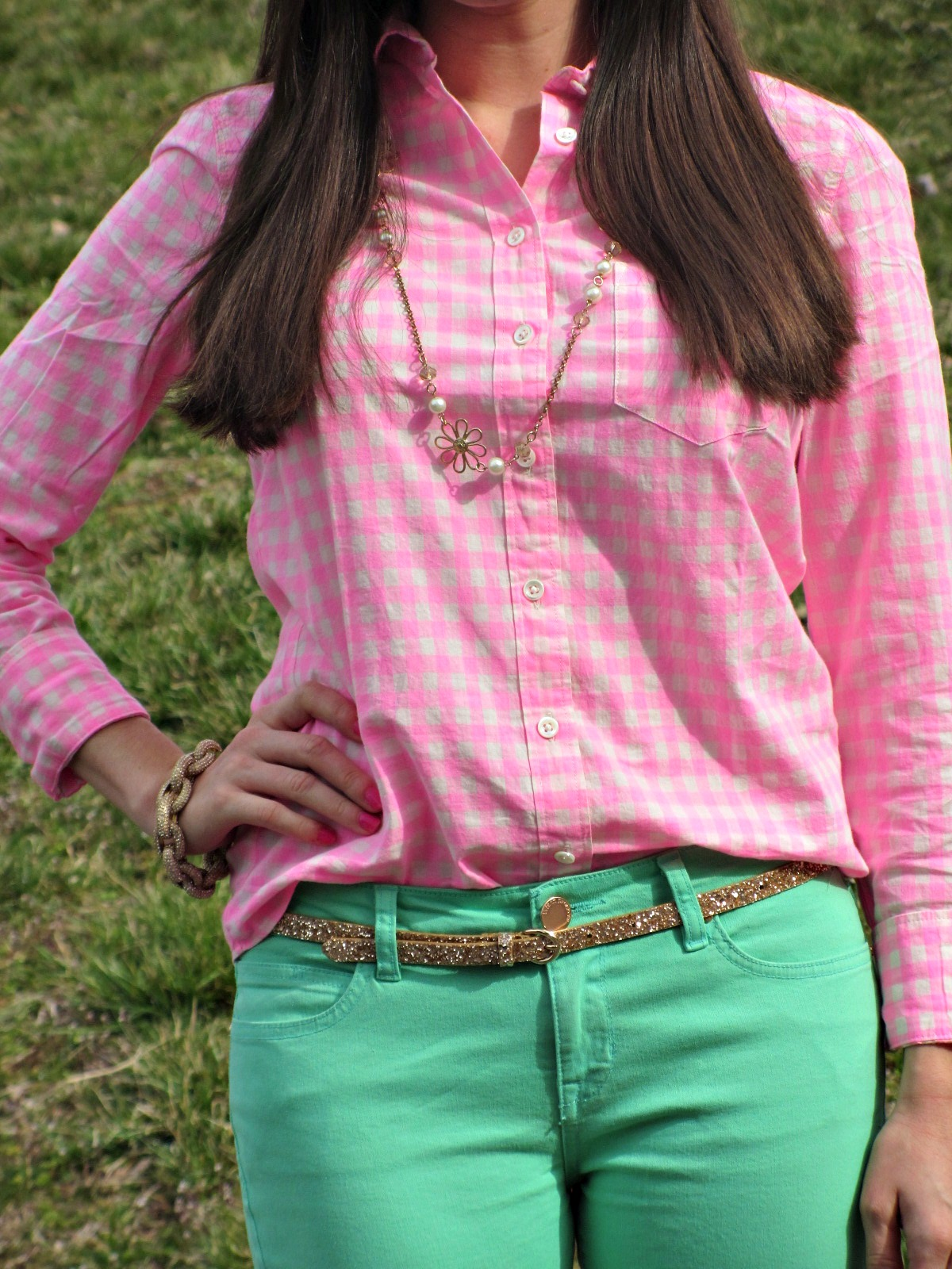 J.Crew Neon Pink Gingham Shirt, Forever 21 Mint Pants, J.Crew Glitter belt, Flower Necklace