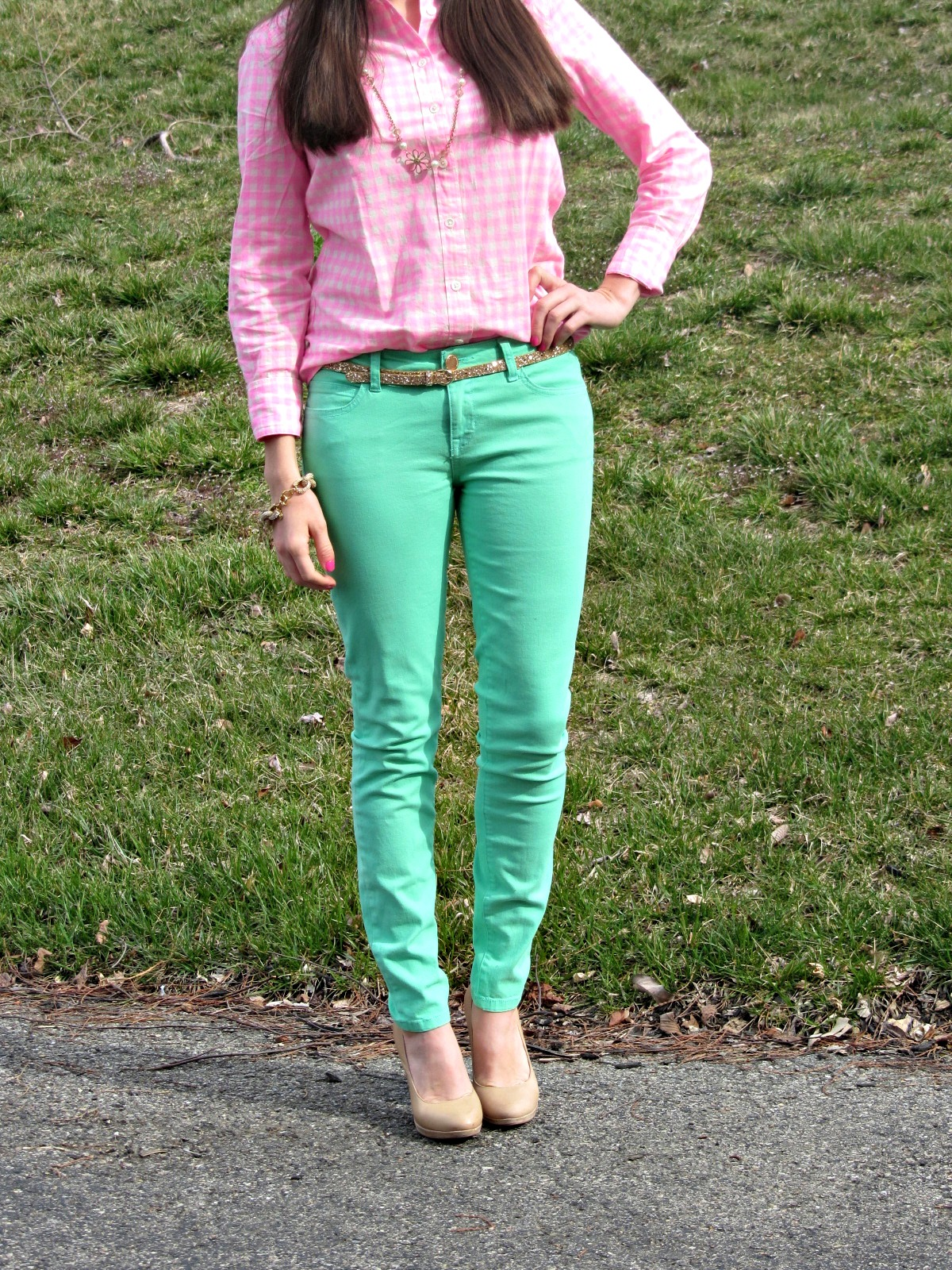 Forever 21 Mint Pants, J.Crew glitter belt