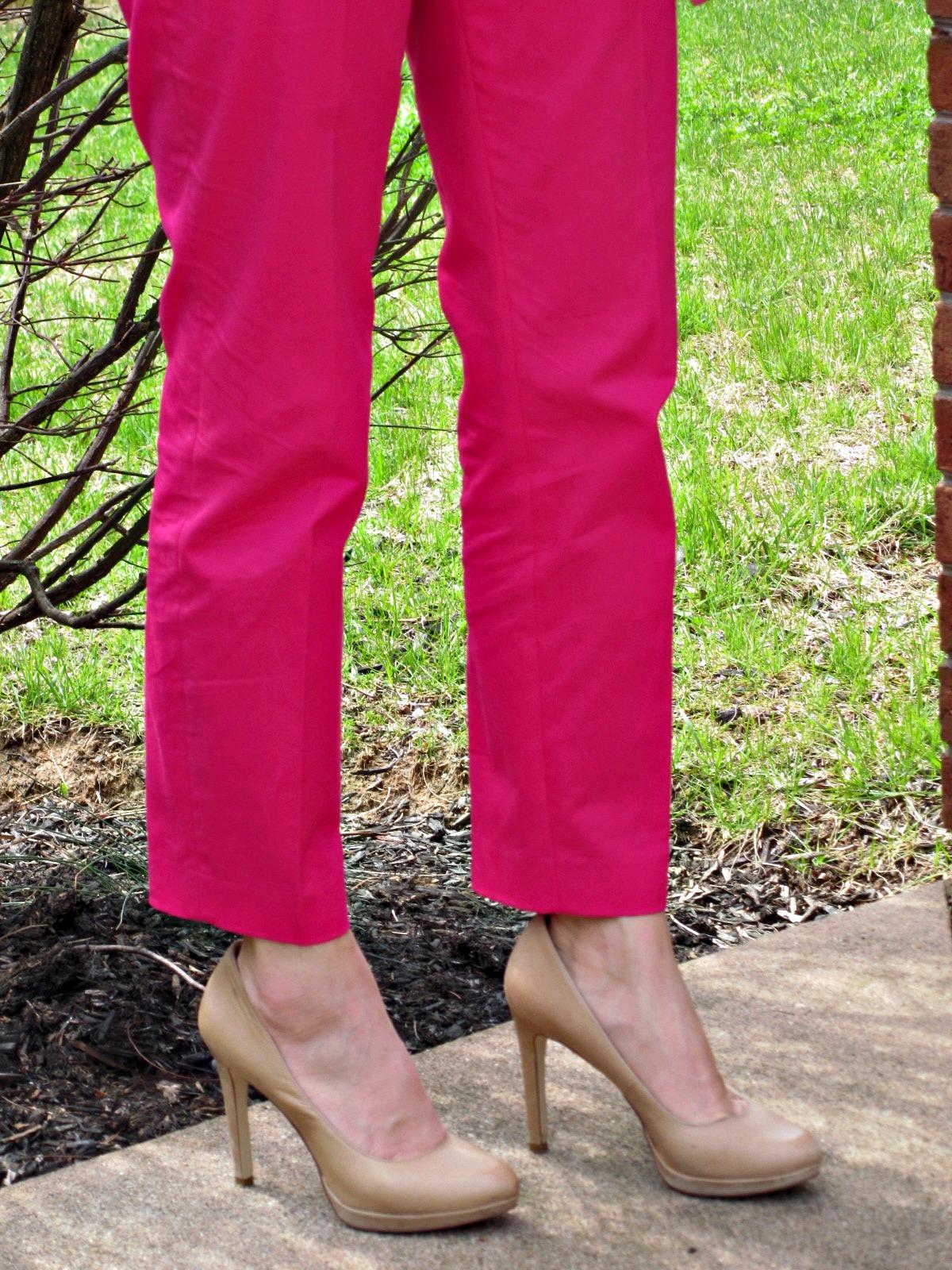 pink J.Crew cafe capri pant, BCBG nude heels