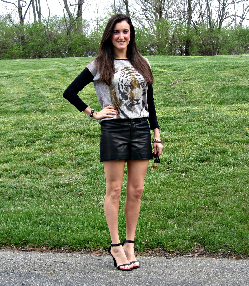 Chelsea and Violet Tiger Top, Gianni Bini leather shorts