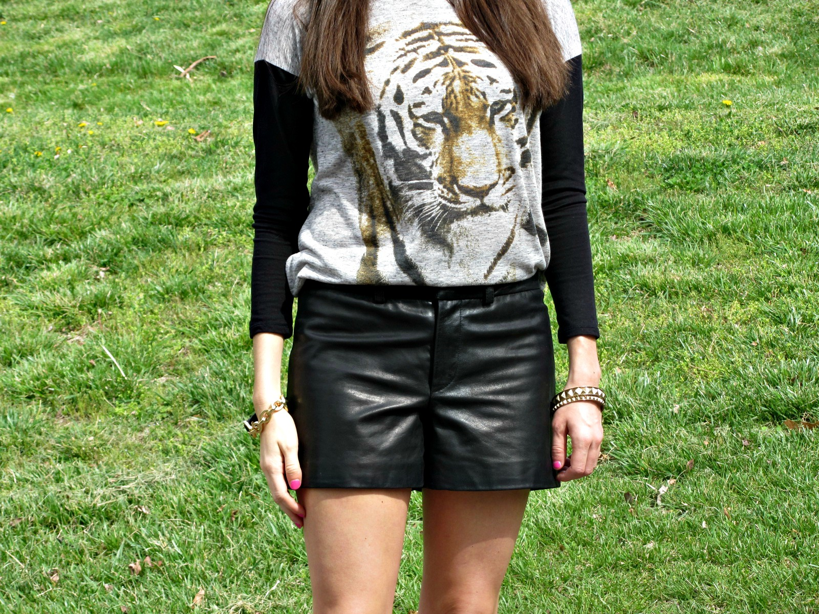 chelsea and violet tiger shirt, Gianni Bini leather shorts