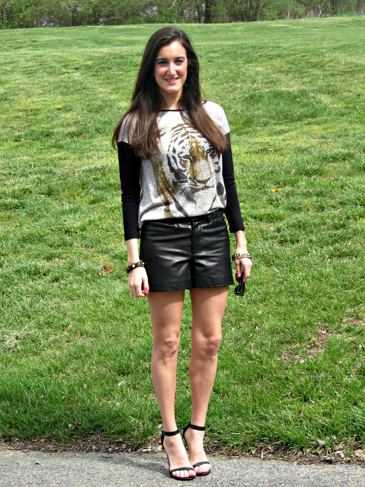 Gianni Bini Dillard's Leather Shorts, Dillard's Chelsea and Violet Tiger Top