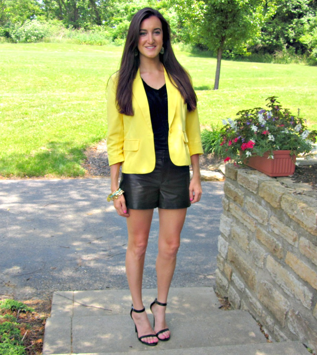 Anne Michelle Enzo Ankle Strap Heels, Gianni Bini Leather Shorts, Yellow Forever 21 Blazer