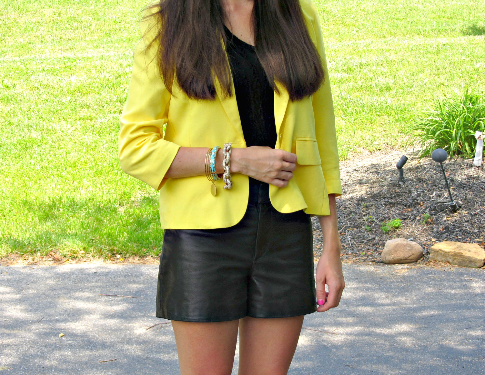Forever 21 Yellow Blazer, Gianni Bini Leather shorts, J.Crew Pave Links Bracelet, Sequin Bangle