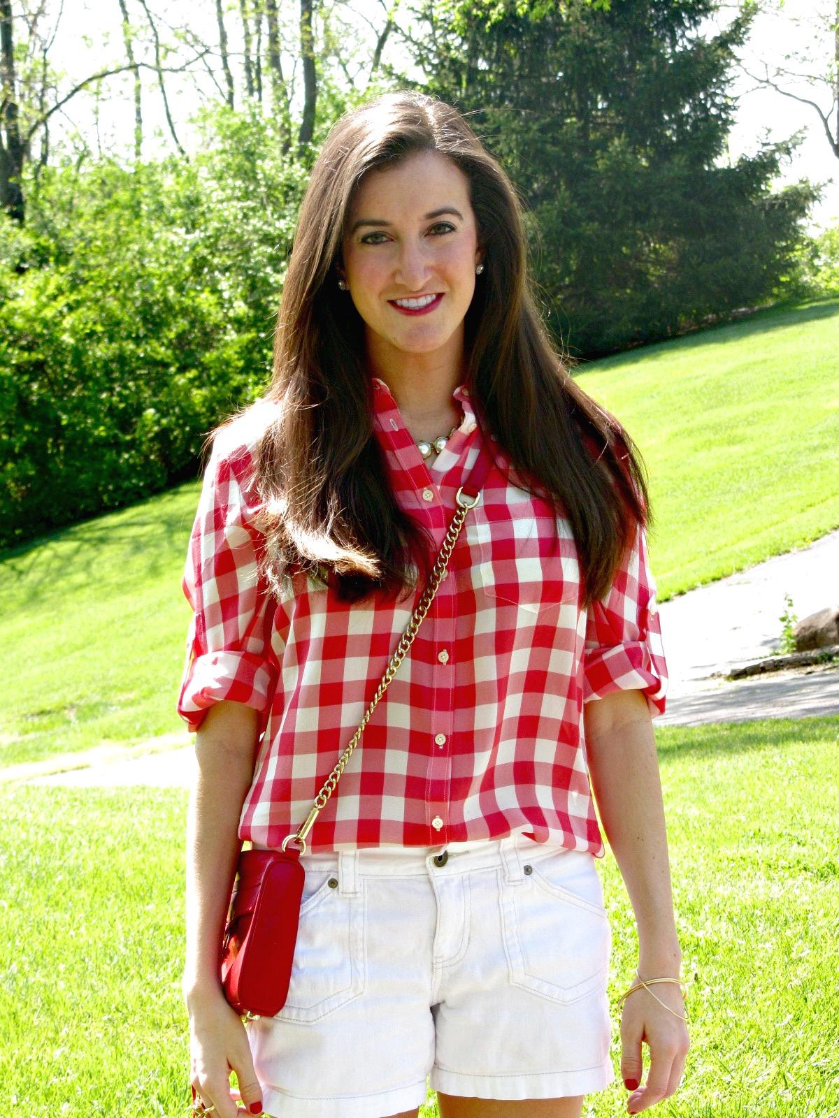 Madewell Gingham Silk Boy Shirt, Rebecca Minkoff Red Mini MAC