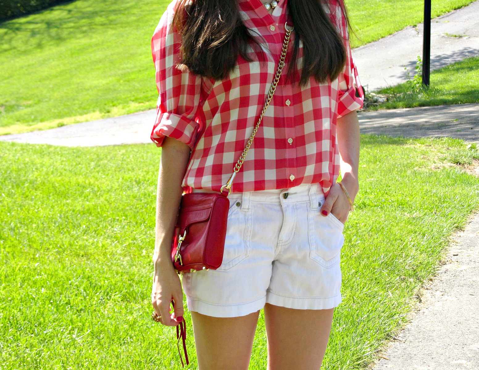 Calvin Klein White Jean Shorts, Madewell Gingham Silk Boy Shirt, Rebecca Minkoff Red Mini MAC