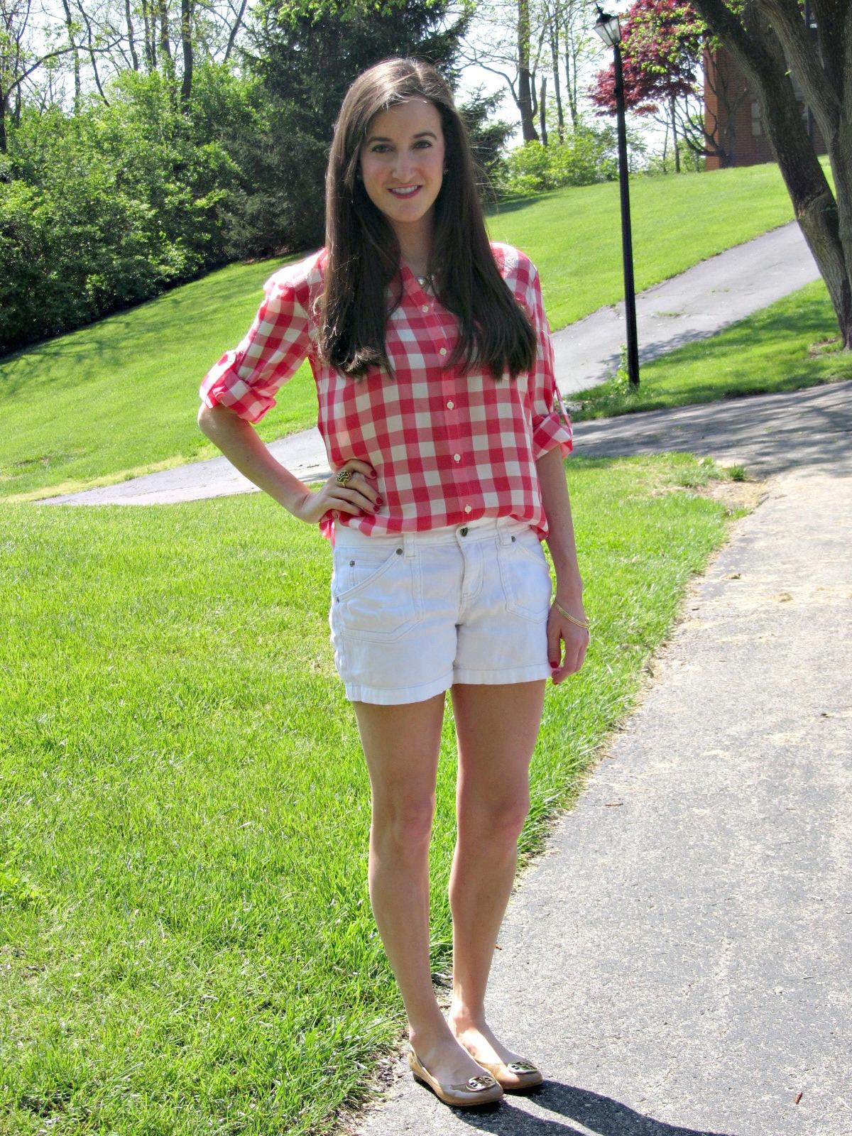 Madewell Gingham Silk Boy Shirt, Calvin Klein White Denim Shorts