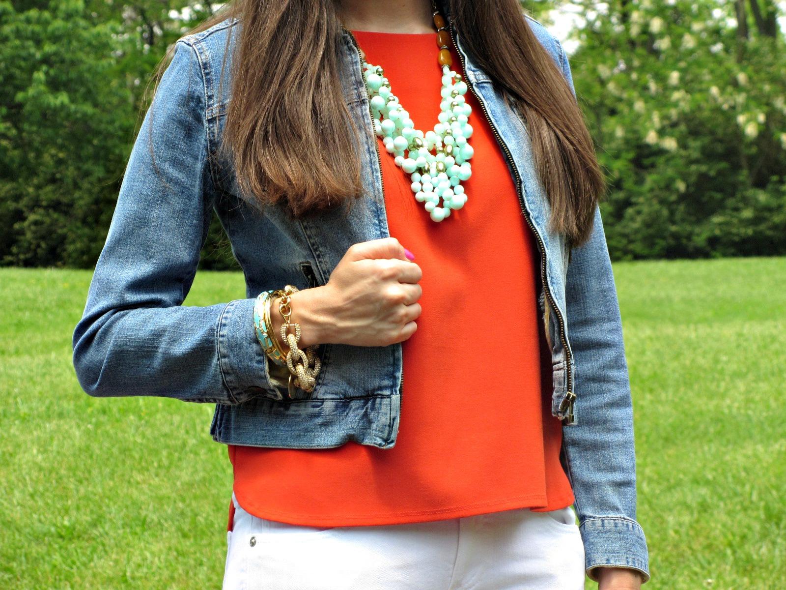 Orange Forever 21 Top, Sigrid Olsen Denim Jacket, Anthropologie Bubble Necklace
