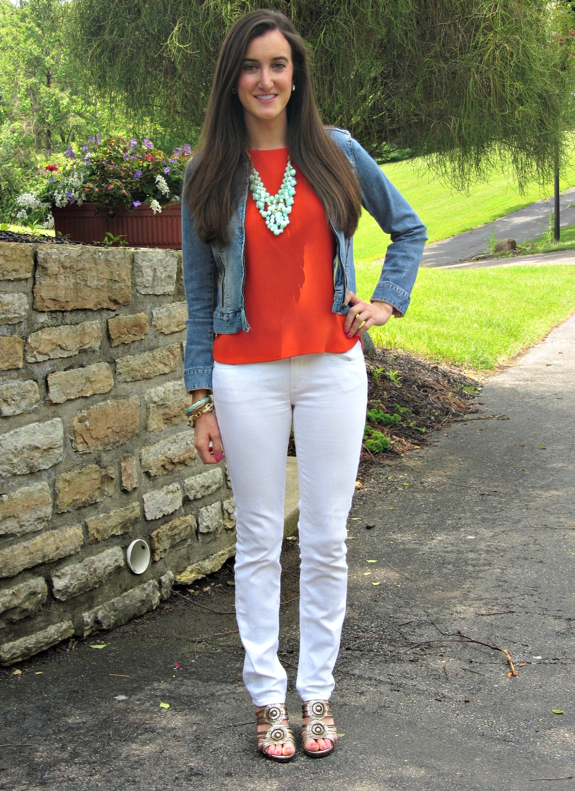 AG Adriano Goldschmied White Jeans, Orange Forever 21 Top