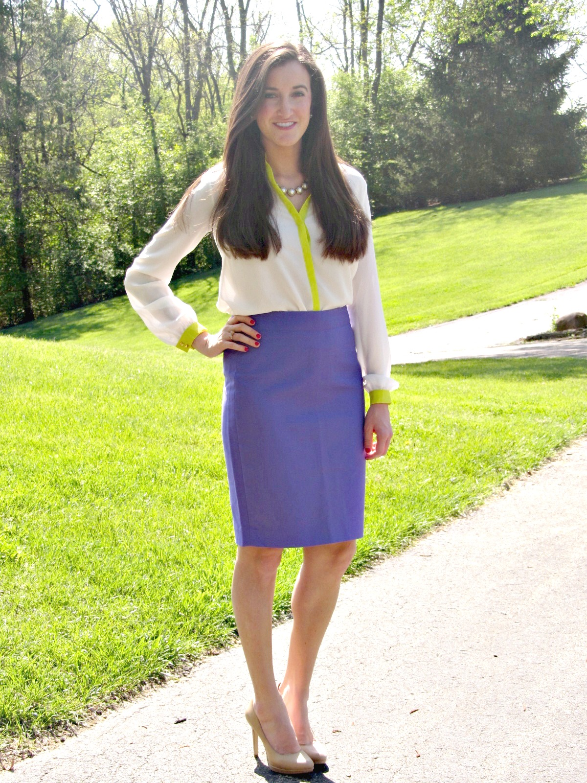 J.Crew No. 2 Pencil Skirt Purple, Gianni Bini White Neon Blouse