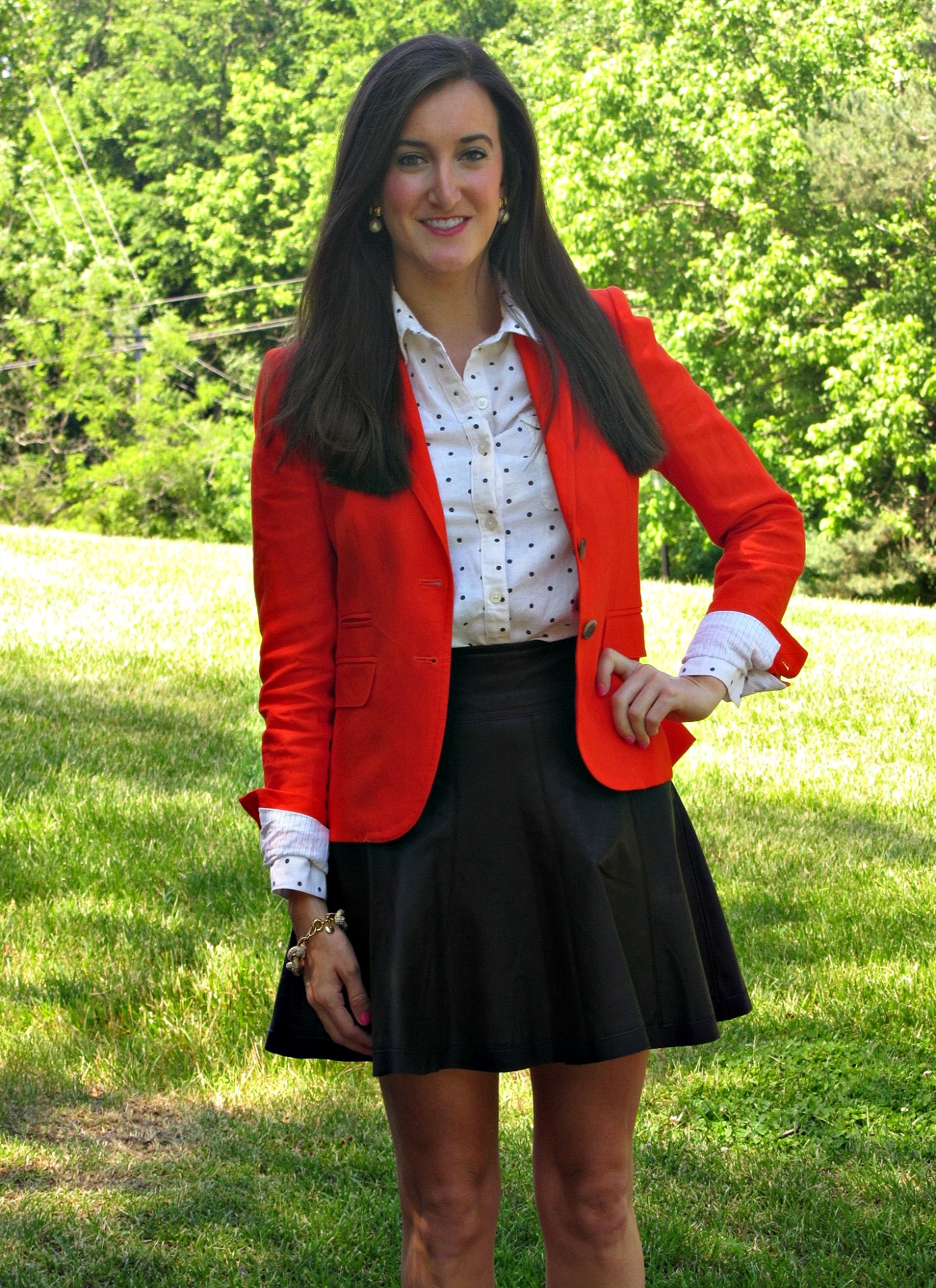 Urban Outfitters Polka Dot Button Down, J.Crew Schoolboy Blazer, Urban Outfitters Leather Skirt