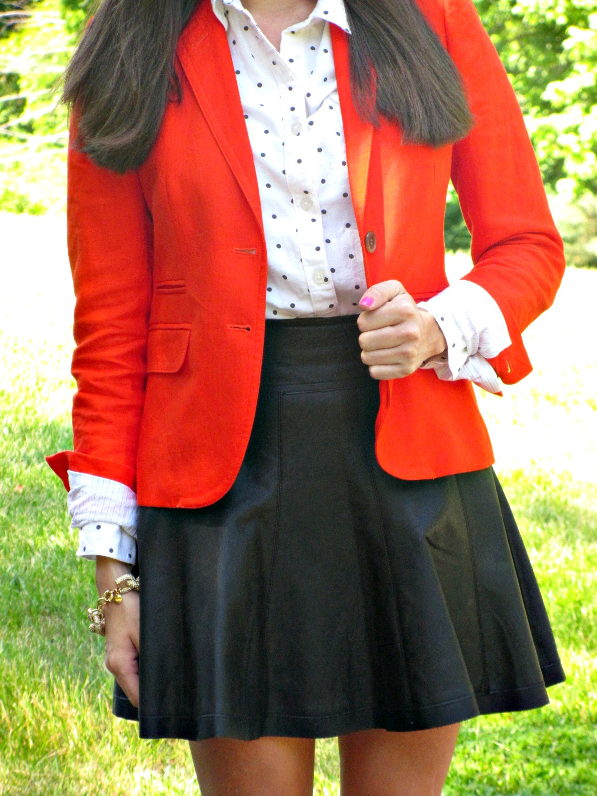 J.Crew Schoolboy Blazer, Urban Outfitters Leather Skirt