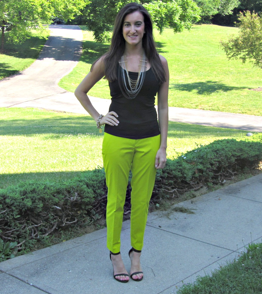 J.Crew Green Cafe Capri Pants, White House Black Market Cami, BCBG Chain Necklace