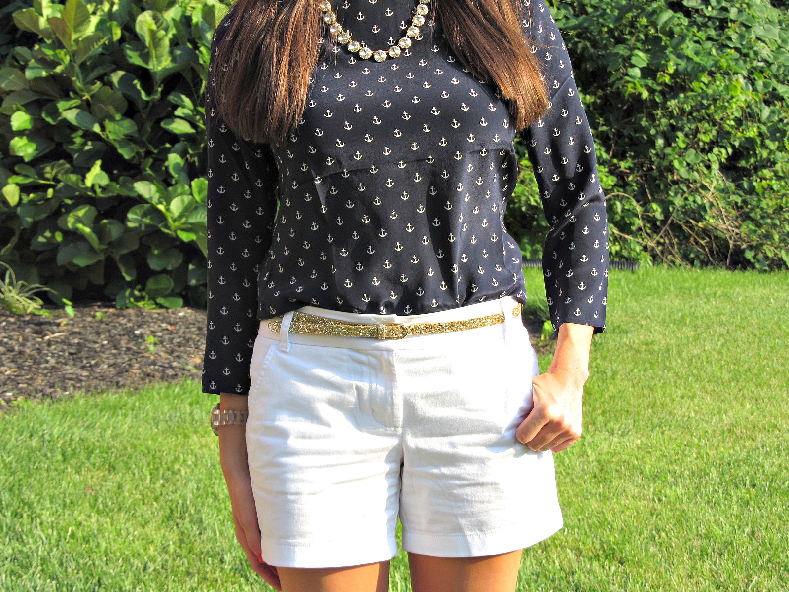 J.Crew Silk Anchor Blouse, J.Crew White Chino Short