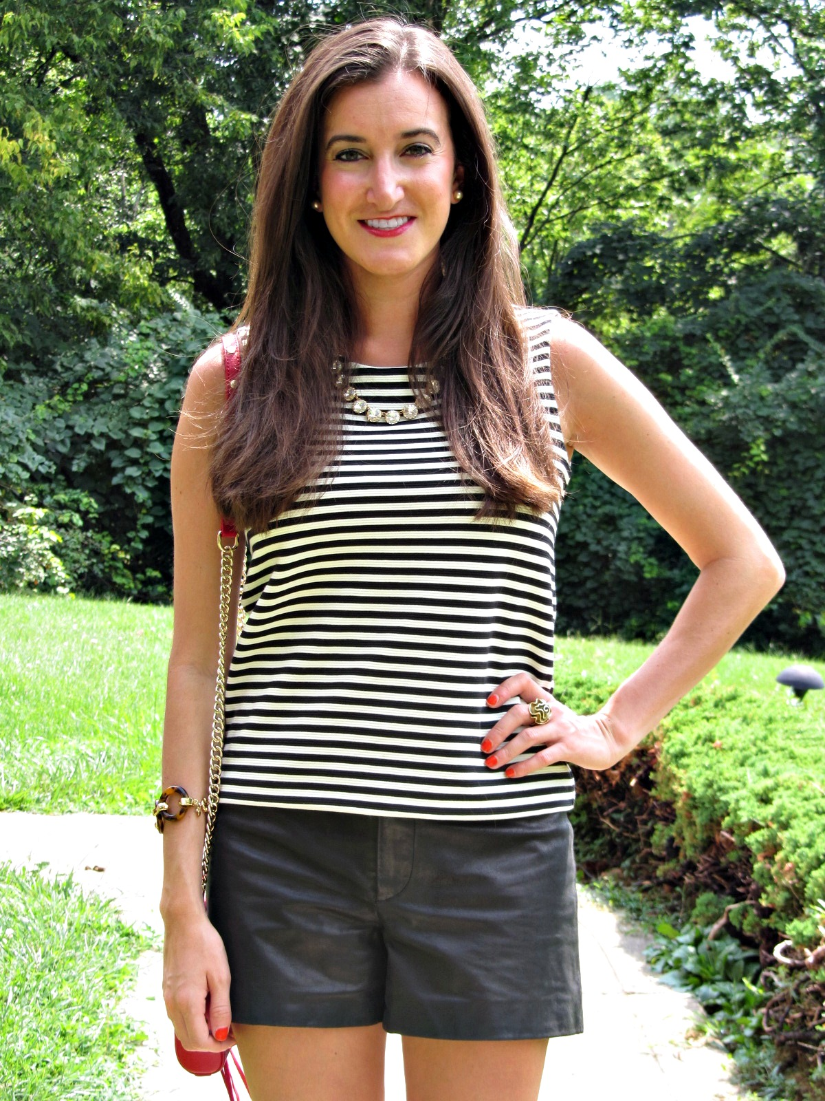 Striped Tank Top and Leather Shorts