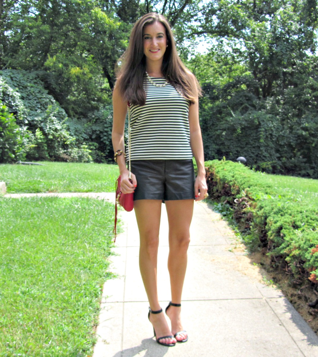 Striped top and leather shorts