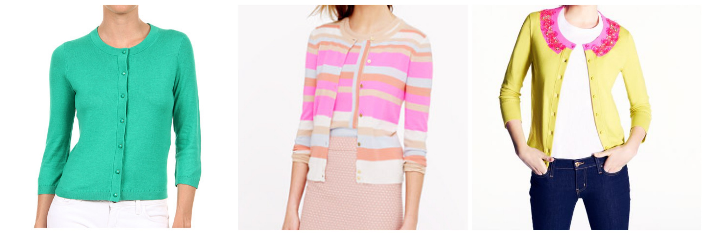 J.Crew Collection Cashmere Striped Cardigan, Kate Spade Azalea Cardigan, Kate Spade Sofia Cardigan