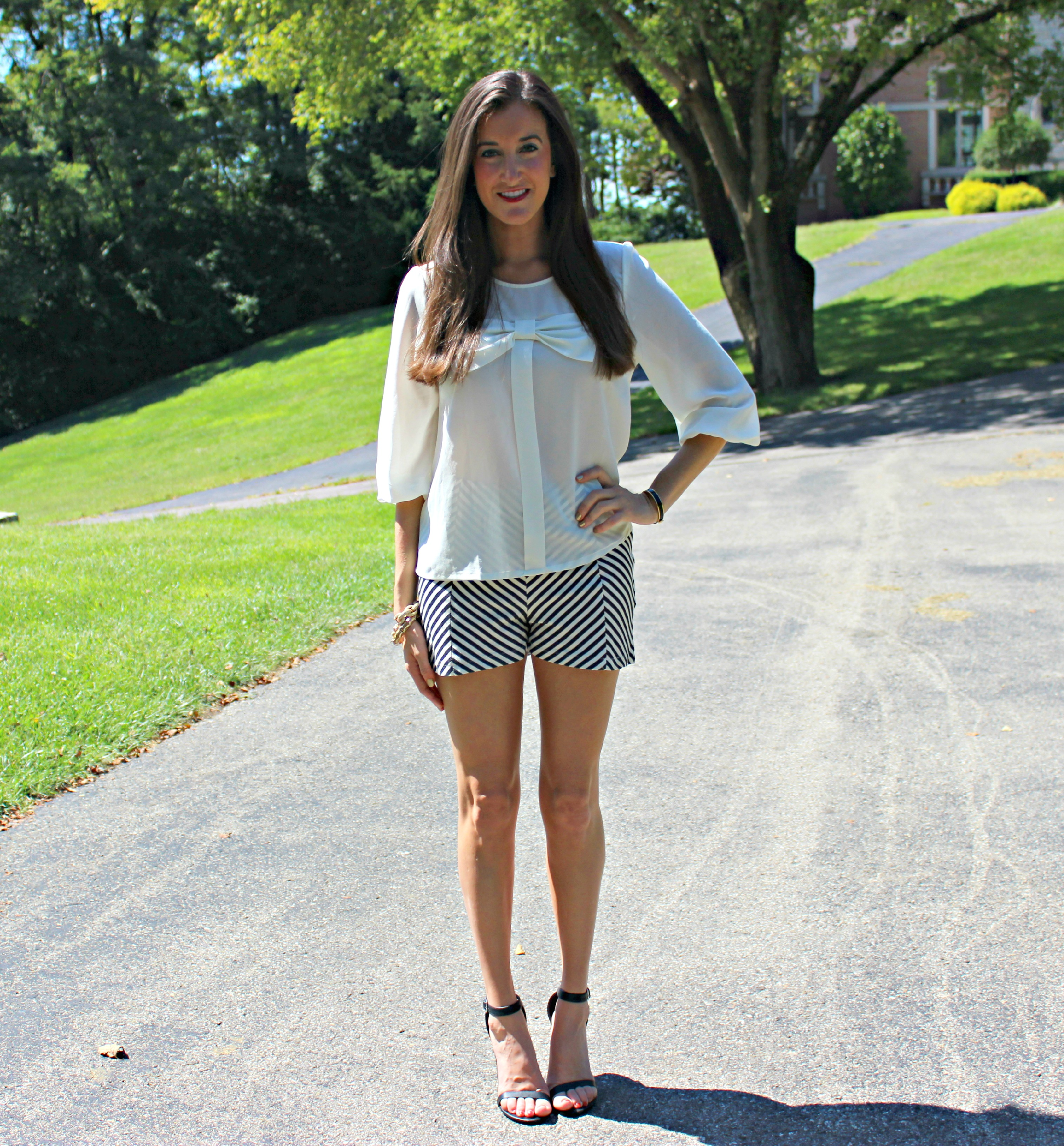 Black and White Bow Chevron Outfit