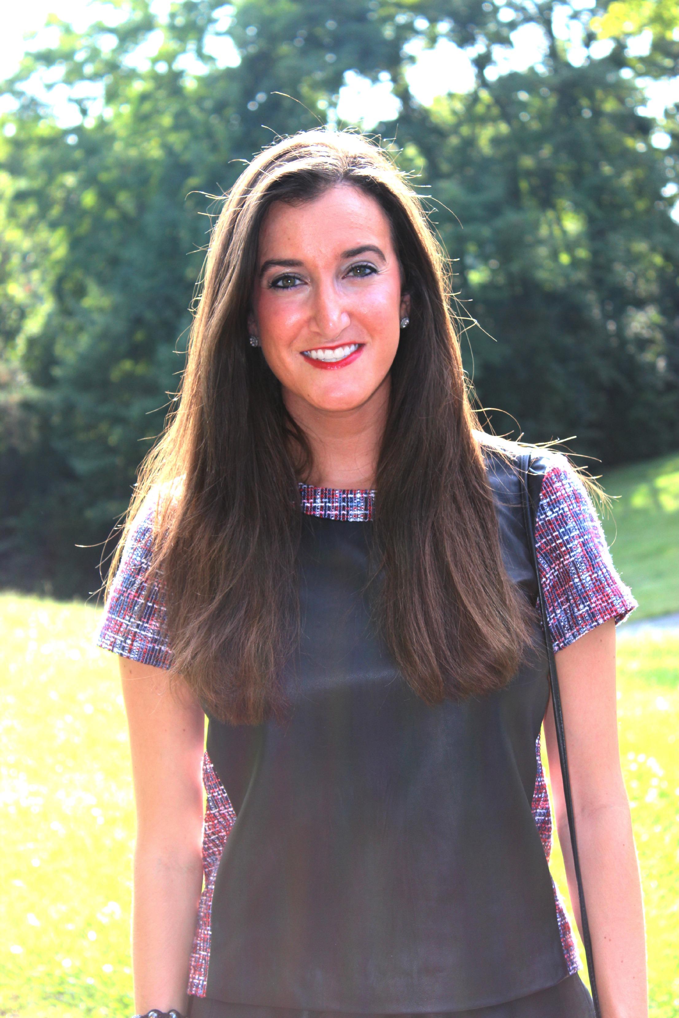 Rachel Roy Zip Back Leather Tee