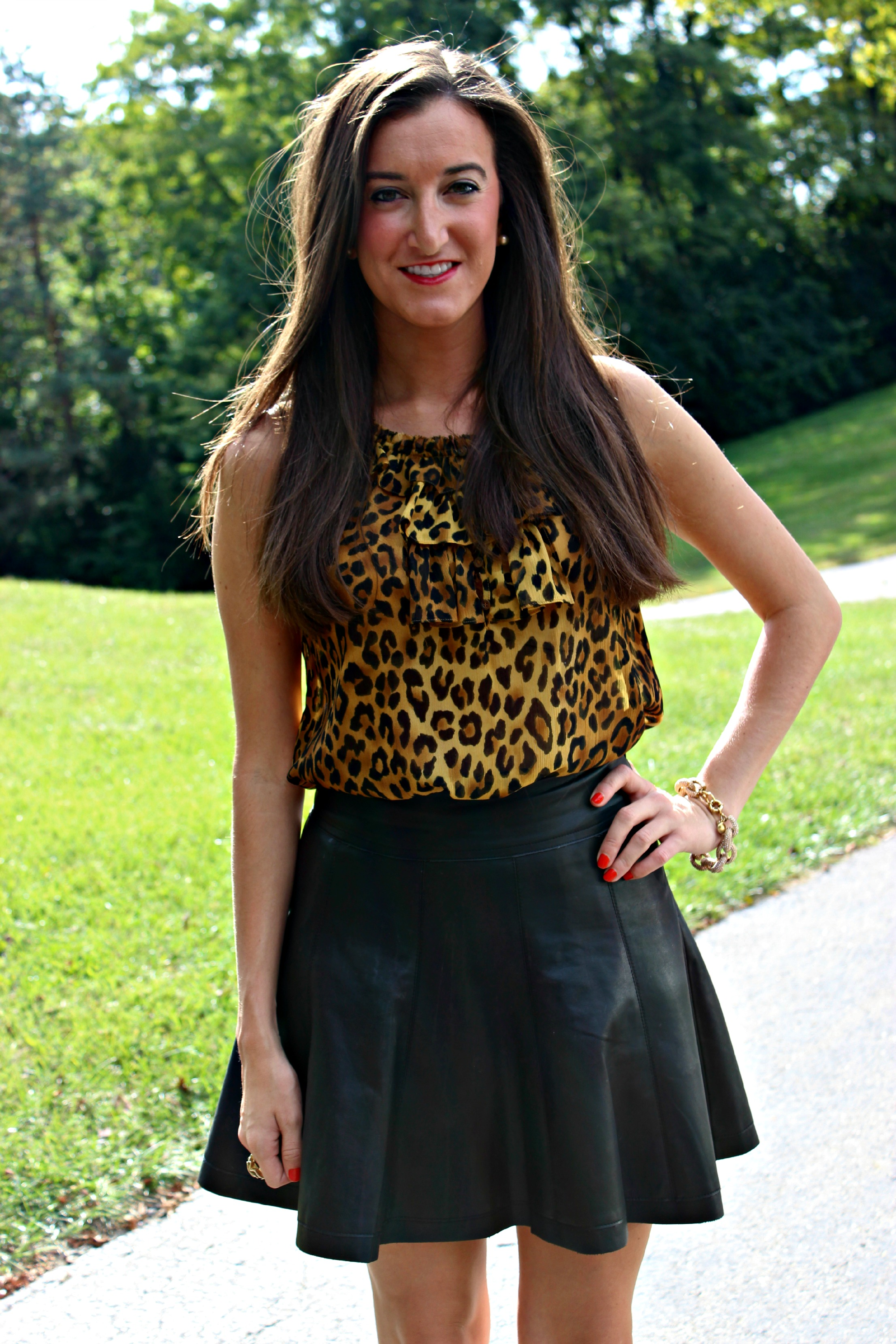 Leopard Top and Pleated Leather Skirt