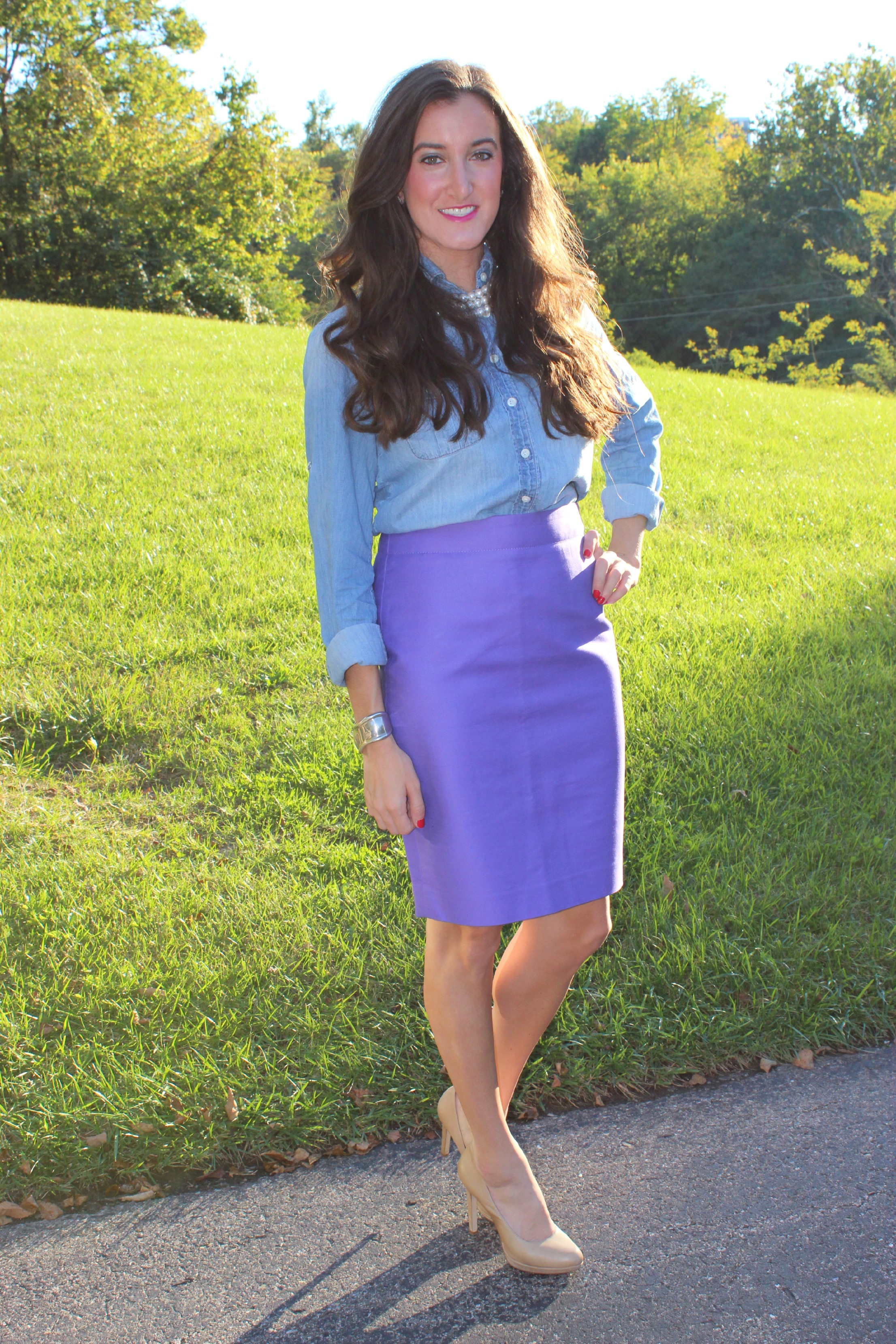 J.Crew Number 2 pencil skirt, J.Crew keeper chambray shirt