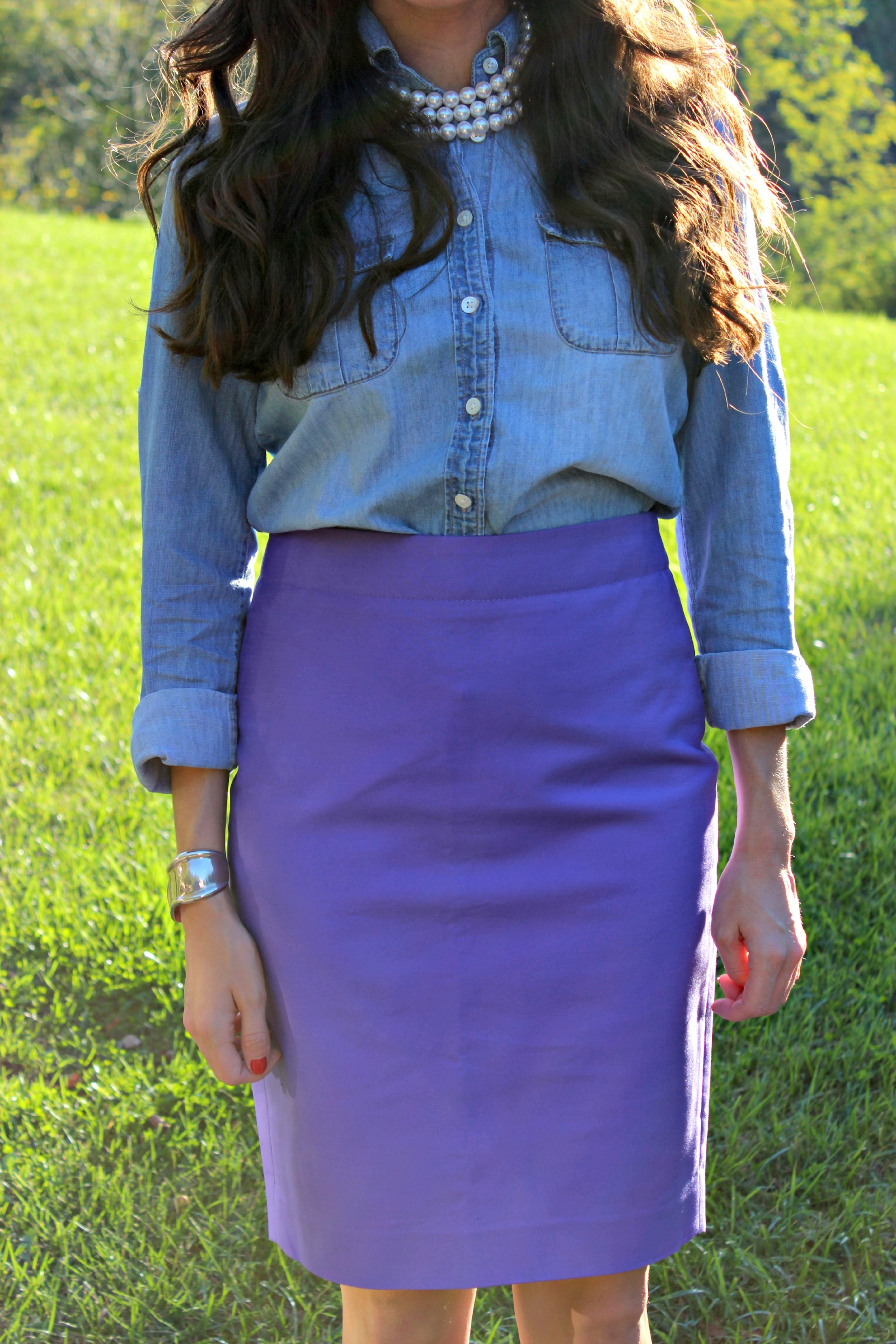 Purple J.Crew Pencil Skirt