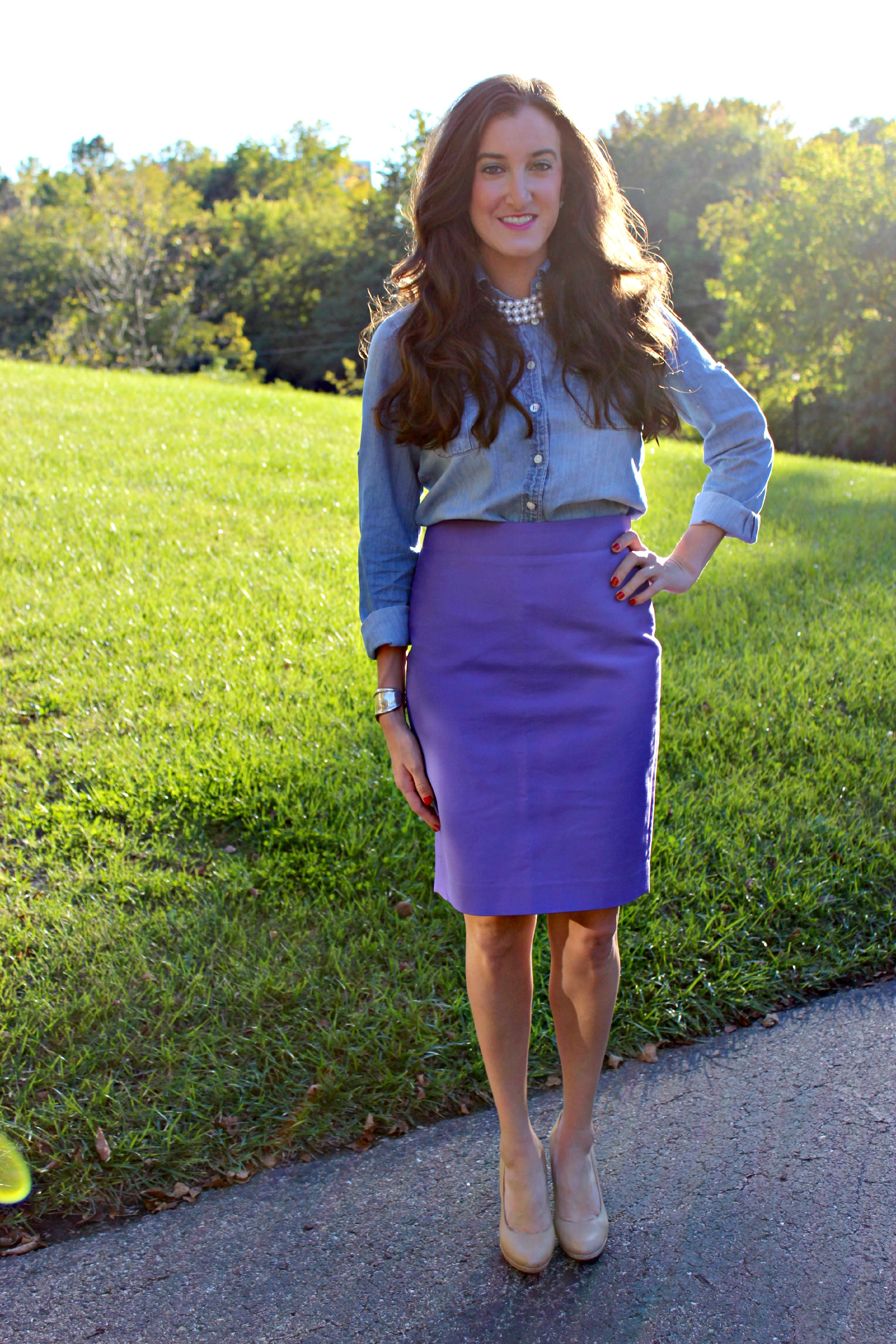 Pencil skirt, Chambray Top