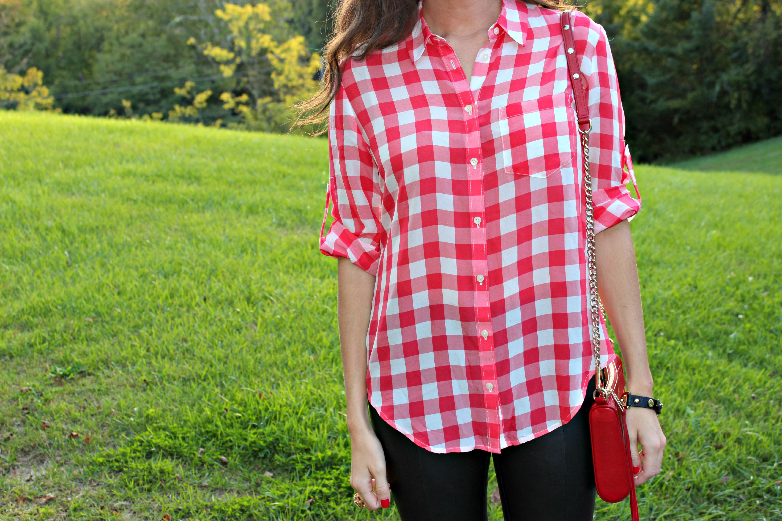 Madewell Silk Gingham Top