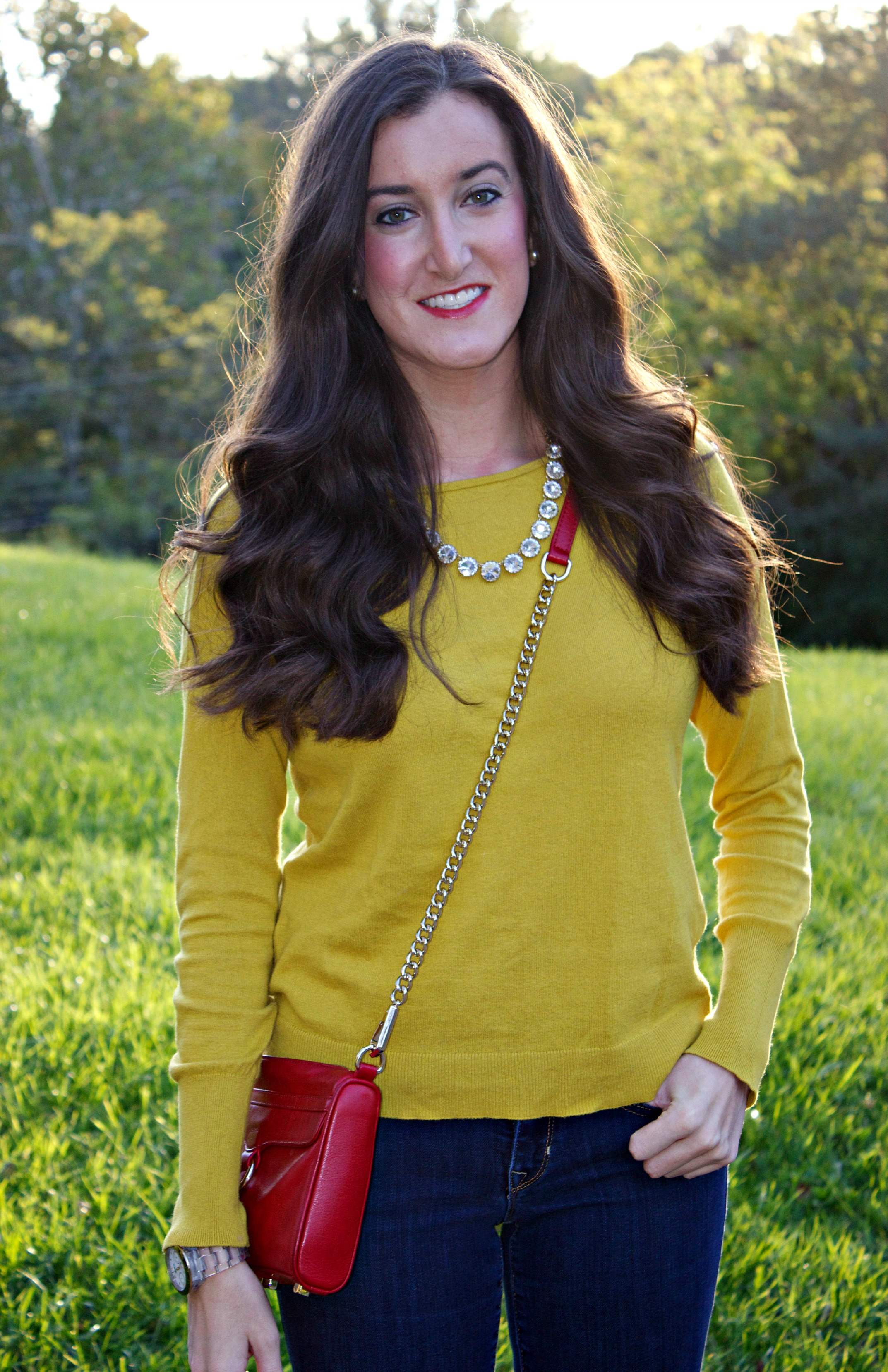 Red Purse Yellow Sweater