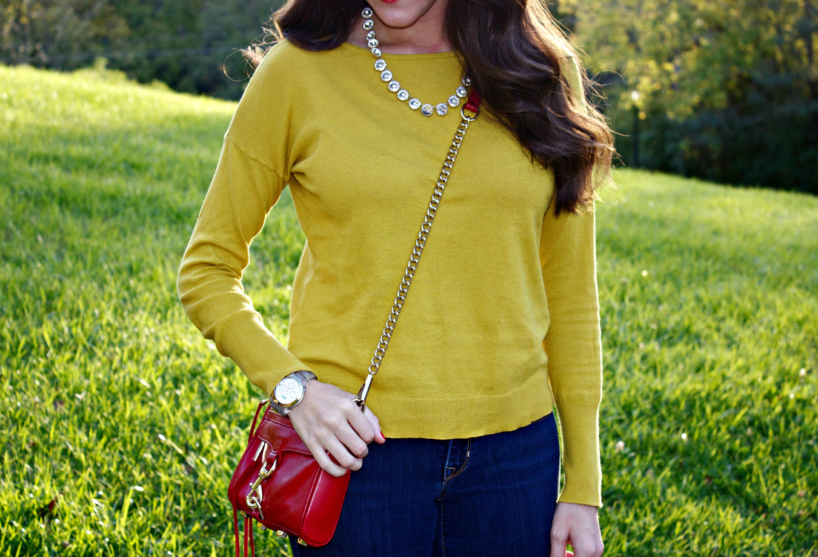 Ann Taylor LOFT Yellow Sweater, Red Mini MAC