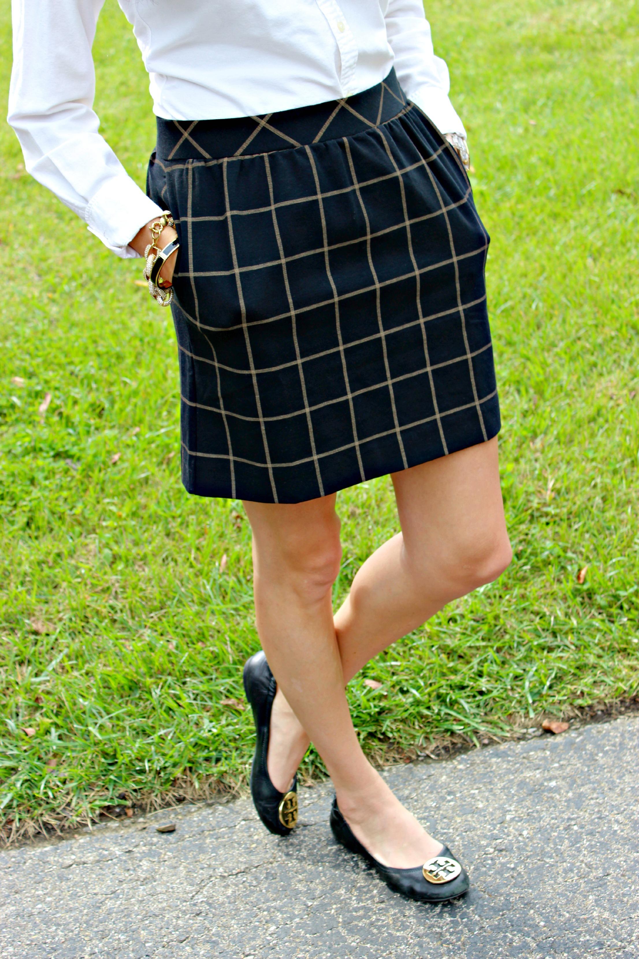 Madewell Windowpane Plaid Print Skirt, Tory Burch Reva Flats