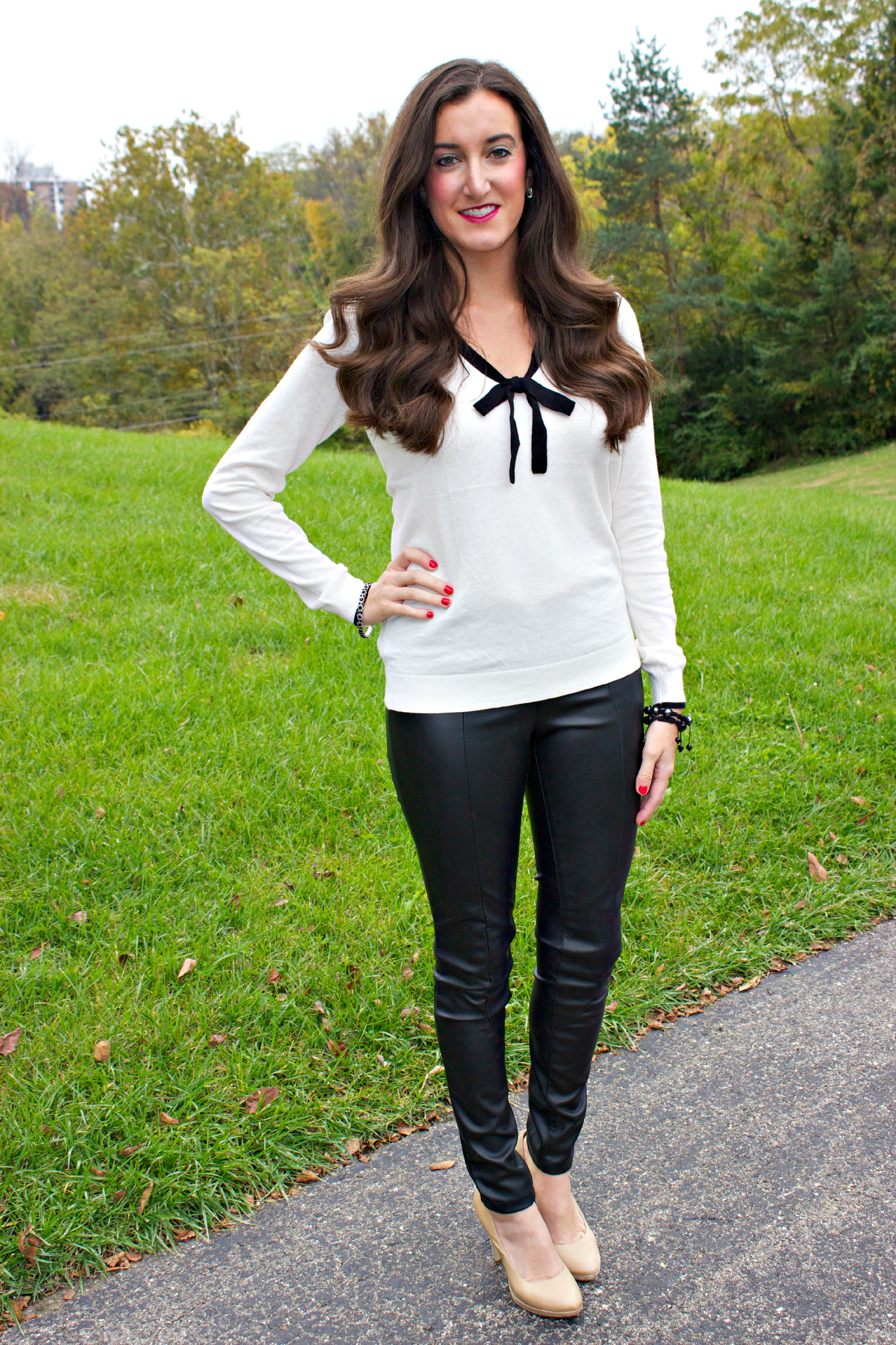 Ann Taylor LOFT Tipped Bow Neck Sweater