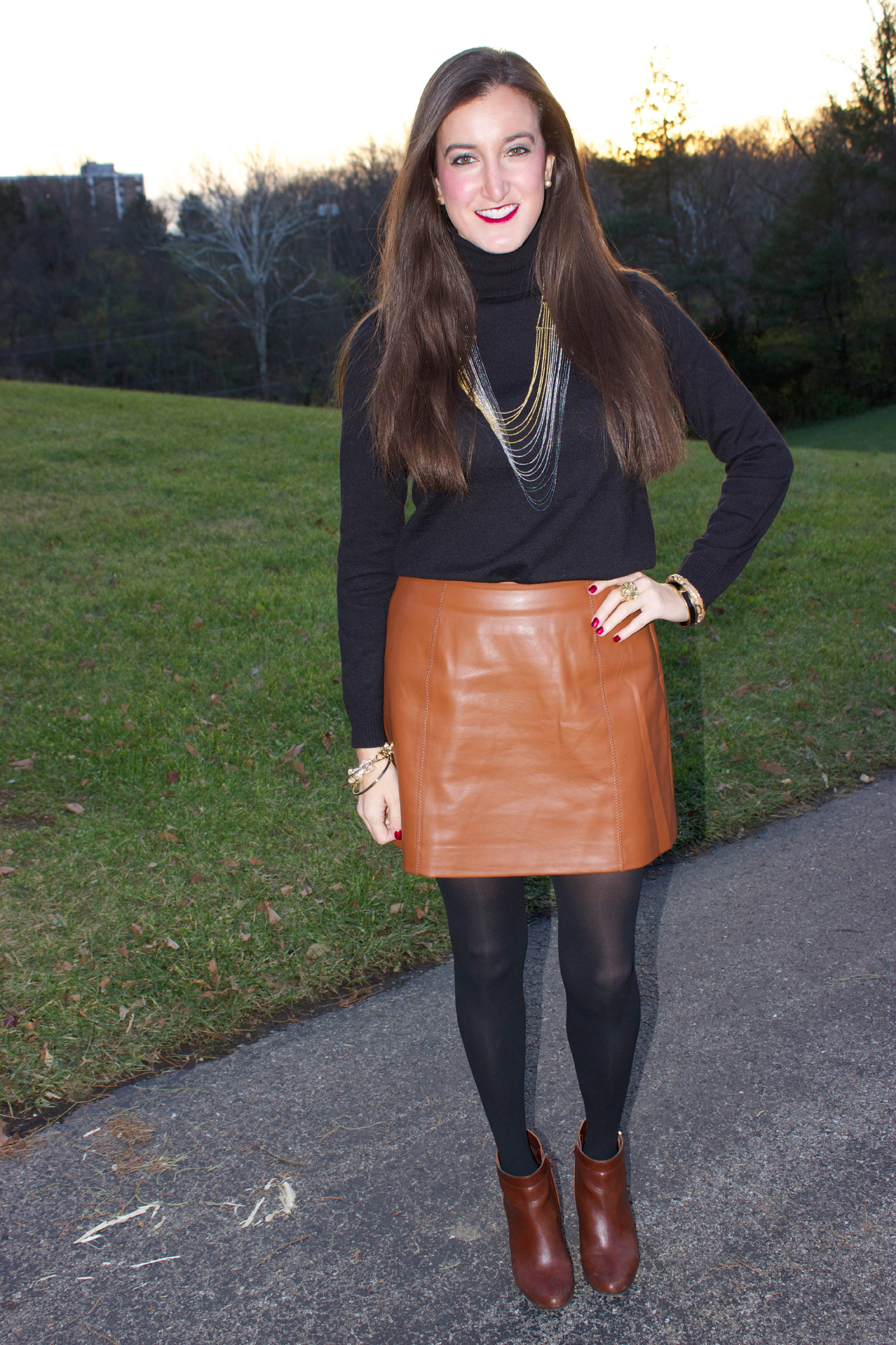 MM Couture Brown Faux Leather Skirt