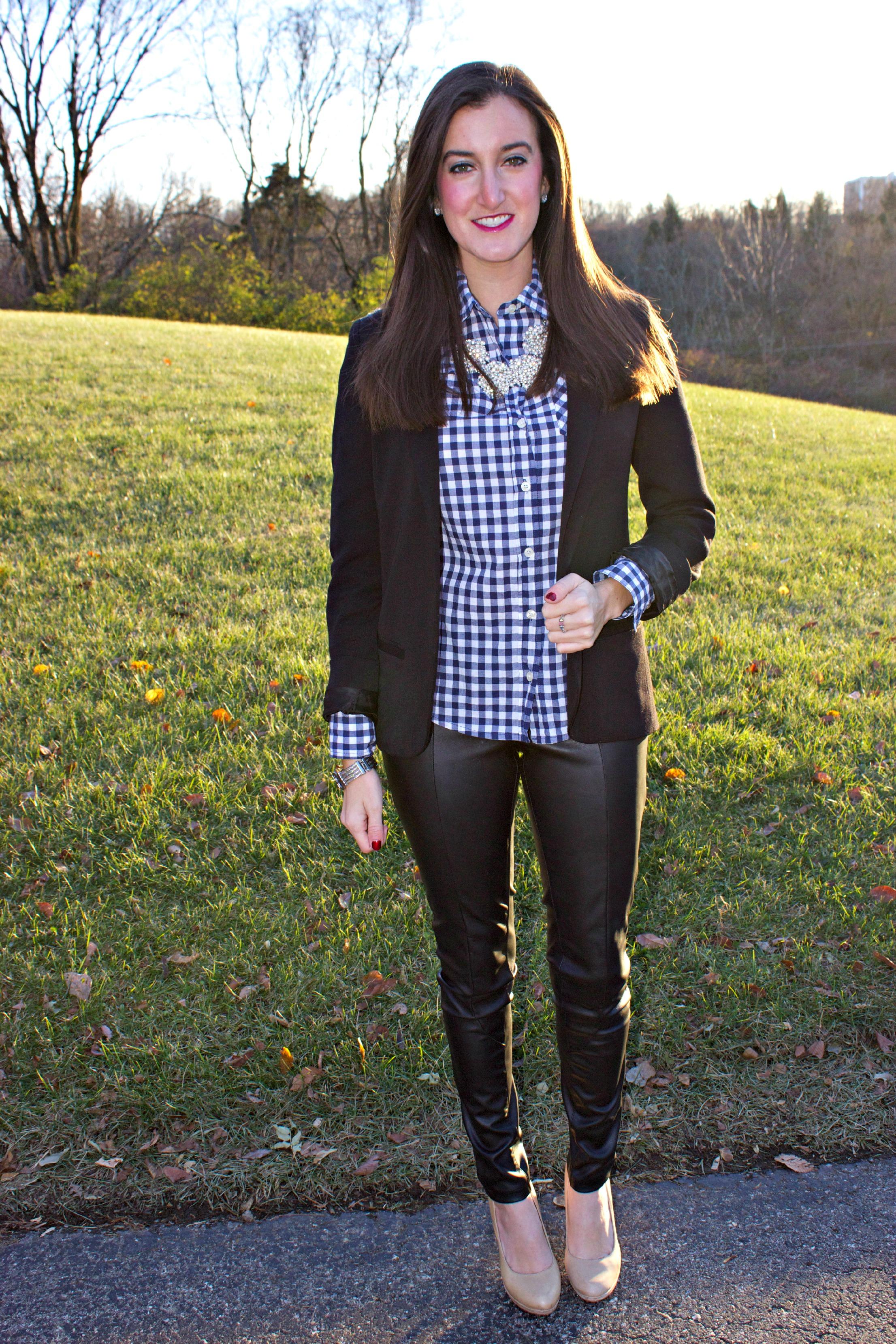 Gingham Shirt Leather Pants