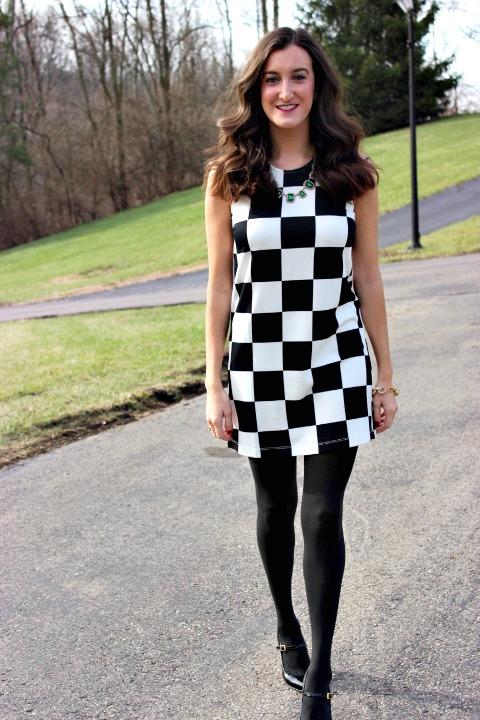 Mod Checkered Shift Dress