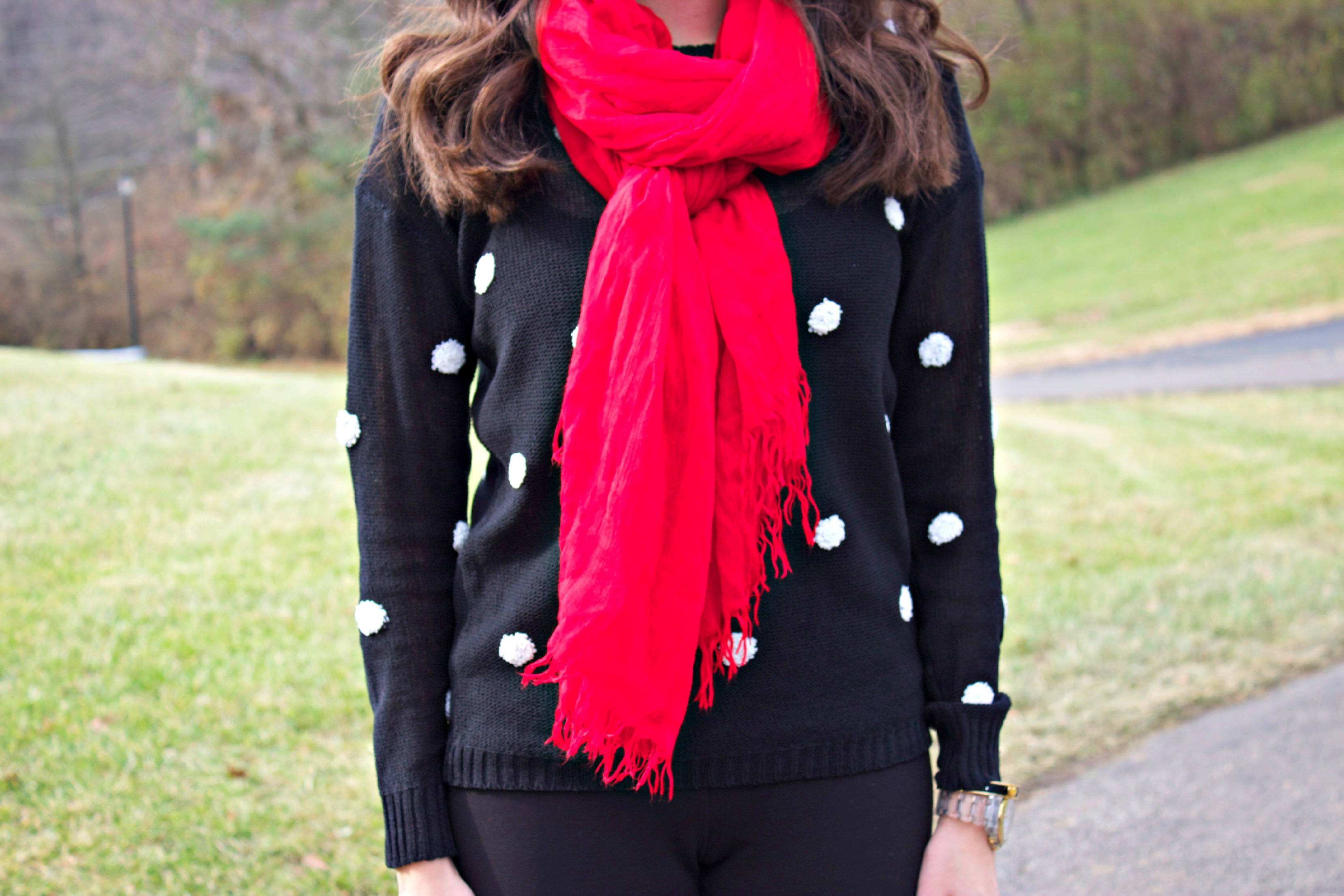 Red Scarf Polka Dot Sweater